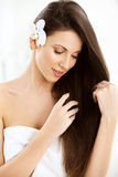 Beautiful Brunette Woman Portrait with Long Hair Royalty Free Stock Photography