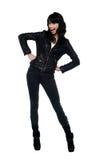 Beautiful brunette woman portrait, rock style Royalty Free Stock Photo