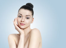 Beautiful brunette woman portrait - skin care concepr Royalty Free Stock Photos