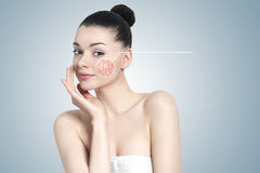 Beautiful brunette woman portrait - skin care concept Stock Photo