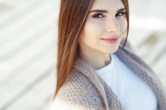 Beautiful brunette woman portrait on white background. royalty free stock images