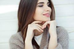 Beautiful brunette woman portrait on white background. stock photo