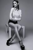 Beautiful brunette woman posing in studio. Black and white fashion shot Stock Photography