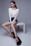 Beautiful brunette woman posing in studio. Fashion shot Stock Photos