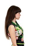 Beautiful brunette woman in profile Royalty Free Stock Image