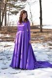 Beautiful brunette woman in purple long dress Stock Photography