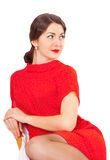 Beautiful brunette woman with red lips and dress Royalty Free Stock Photography