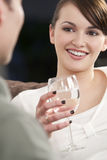 Beautiful Brunette Woman On A Romantic Date Royalty Free Stock Image