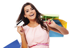 Beautiful brunette woman on shopping Royalty Free Stock Images