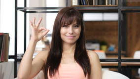 Beautiful Brunette Woman Showing Ok Sign, Indoor Royalty Free Stock Photography