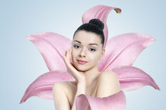 Beautiful brunette woman - skin care concept Stock Photography