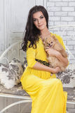 Beautiful brunette woman with small dog in hands. Sitting on a bench Royalty Free Stock Photo