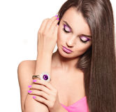 Beautiful brunette woman with straight long hair Stock Photography