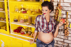 Beautiful brunette woman on a 7th month pregnancy in plaid shirt Royalty Free Stock Photos