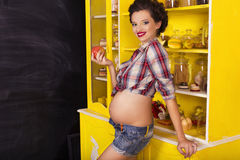 Beautiful brunette woman on a 7th month pregnancy in plaid shirt Royalty Free Stock Images