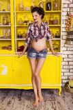 Beautiful brunette woman on a 7th month pregnancy in plaid shirt Stock Photos