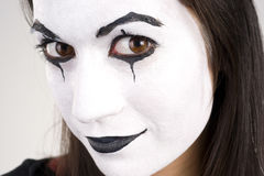 Beautiful Brunette Woman Theatrical Close Up Mime Dance White Face Stock Images