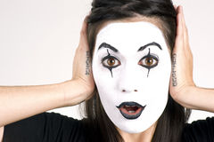 Beautiful Brunette Woman Theatrical Performance Mime Dance White Stock Photography