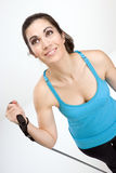 Beautiful Brunette Woman Tones Muscles Working Out Tension Band Stock Photo