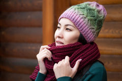 Beautiful brunette woman wearing knitted scarf and hat. Stock Photography