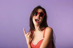 Beautiful brunette woman wearing lingerie stock photography