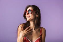 Beautiful brunette woman wearing lingerie stock photo