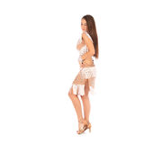 Beautiful brunette woman wearing white dress on light background Royalty Free Stock Images