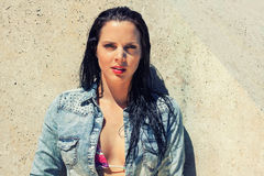 Beautiful brunette woman wet hair sunlight outdoor Royalty Free Stock Images