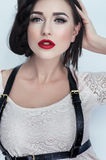 Beautiful brunette woman in white clothes Royalty Free Stock Photos