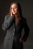 Beautiful brunette woman in winter jacket Royalty Free Stock Images