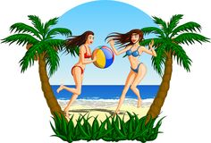 Women Playing Beach Ball On The Beach. Beautiful brunette women playing with a ball on a tropical beach Stock Photography
