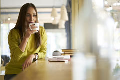Beautiful brunette in a yellow blouse waiting for administrative assistant to discuss creative solution for new project. Portrait of successful owner of model Royalty Free Stock Photography