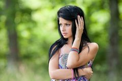 Beautiful brunette young lady outdoor Stock Image