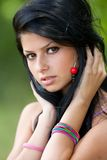Beautiful brunette young lady outdoor Royalty Free Stock Photo