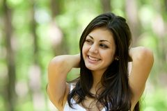 Beautiful brunette young lady outdoor Stock Photo