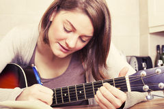 Beautiful brunette young woman with a guitar Stock Image