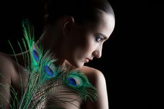 Beautiful brunette young woman with peacock style Stock Photos