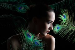 Beautiful brunette young woman with peacock style Royalty Free Stock Photo