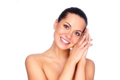 Beautiful brunettes with perfect skin stock image