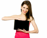 Beautiful brunnete woman holding laptop Stock Image