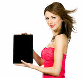 Beautiful brunnete woman holding laptop Stock Photos
