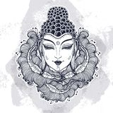 Beautiful Buddha face over high-detailed decorative floral elements. Engraved vector illustration on watercolor background. Spiritual and religious motives royalty free illustration
