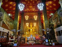 Beautiful Buddha image in a temple,Wat Phra That Hariphunchai , Lumphun ,North of Thailand. Stock Image