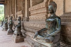 Beautiful Buddha statues in the Ho Pha Keo temple in Vientiane, Laos royalty free stock images