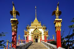Beautiful Buddhist architecture soaring into blue sky