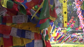 Beautiful Buddhist praying flags on old tree in Lumbini, Nepal. Beautiful colorful Buddhist praying flags on old tree in Lumbini, Nepal stock footage