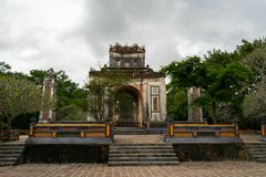 Beautiful buddhist temple on a cloudy day in hanoi vietnam asia royalty free stock photography