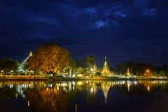 Small Buddhist temple at night. Beautiful Buddhist temple Wat Chong Klang in downtown Mae Hong Son at night Stock Photo
