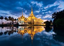Wat Non or Non temple at twilight, famous place of Nakhon Ratchasima, Thailand royalty free stock image