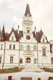 Budmerice castle in Slovak republic, yellow filter. Beautiful Budmerice castle in Slovak republic. Architectural theme. Cultural heritage. Vertical composition stock images